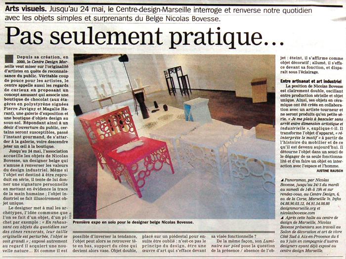 exposition personnelle centre design maseille solo exhibition nicolas bovesse design centre marseille